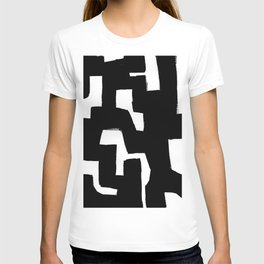 Tribal Maze Black & White Minimalist Ink Tribal Mid Century Pattern Dark Painting Pattern T-shirt