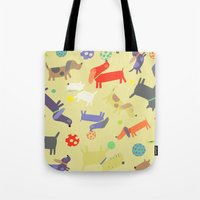 dogs Tote Bags featuring Dogs by Amy Schimler-Safford