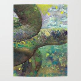 "Giant Sea Turtle Under Water Ocean Aquatic ""The Color Of Magic"" Poster"