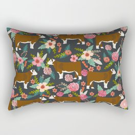 Hereford Cattle breed floral farm homestead gifts cow art florals Rectangular Pillow
