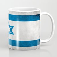 israel Mugs featuring Israel Flag  by Jason Michael