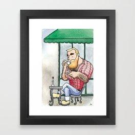 Beefy Lumberjack Enjoys an Espresso Framed Art Print