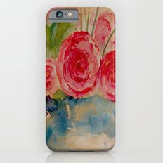Flowers in a blue vase iPhone 6s Slim Case