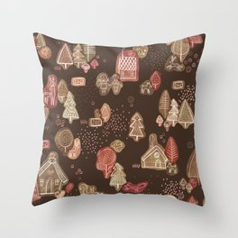 Hansel and Gretel Fairy Tale Gingerbread Pattern on Brown Throw Pillow