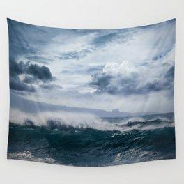 He inoa wehi no Hookipa  Pacific Ocean Stormy Sea Wall Tapestry