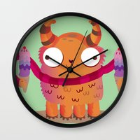 icecream Wall Clocks featuring Icecream monster by Maria Jose Da Luz