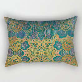 Abstract Pattern:  Watercolor Deep Tones Fancy Prints Teal Ornament Rectangular Pillow