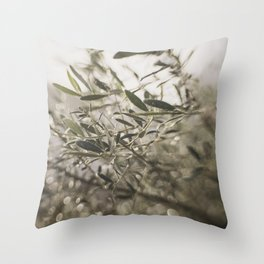 Olive Tree Leaves in the Mist Throw Pillow