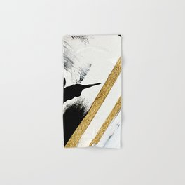Armor [8]: a minimal abstract piece in black white and gold by Alyssa Hamilton Art Hand & Bath Towel