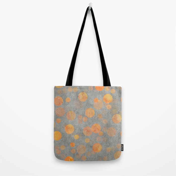 Fancy orange Dot Pattern on grey Tote Bag