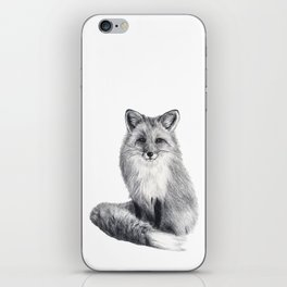 Red fox during winter iPhone Skin