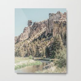 Vintage Smith Rock State Park // River and Rocks Scenic Hiking Landscape Photograph Metal Print