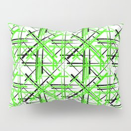Intersecting light green lines with a black diagonal on a white background. Pillow Sham