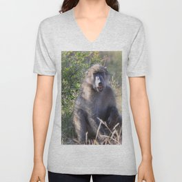 """Hey, whassup,"" said the Baboon Unisex V-Neck"