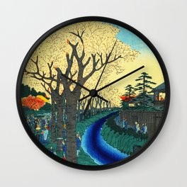Cherry Blossoms on the Tama River Wall Clock