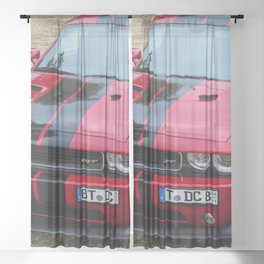 Red Challenger RT Hemi at the 5th US-Carshow, Germany color photograph / photography / poster Sheer Curtain