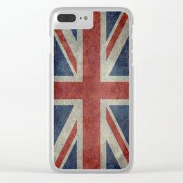 UK Flag, Dark grunge 1:2 scale Clear iPhone Case