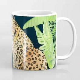 Leopard in Jungle, Night time Background Coffee Mug