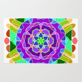 Abstract festive colorful mandala Rug