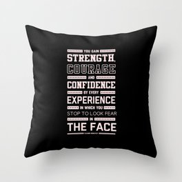 Lab No. 4 Strength Does Not Come Arnold Schwarzenegger Motivational Quote Throw Pillow