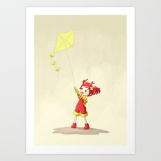 Girl with Kite Art Print