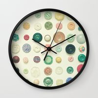 cassia beck Wall Clocks featuring The Button Collection by Cassia Beck