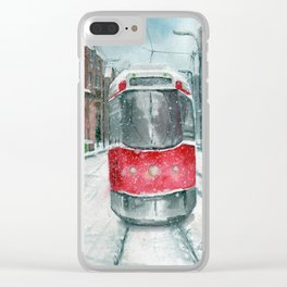 Streetcar in the Snow Clear iPhone Case