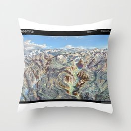 Sky Panorama Map of Yosemite National Park with Labels Throw Pillow