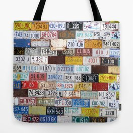 State License Plate Collage Tote Bag