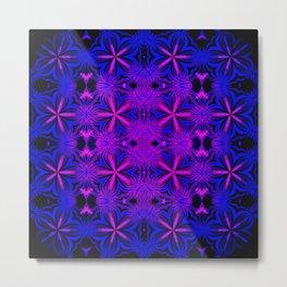 Fuchsia & Blue Floral Metal Print