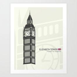 Elizabeth tower clock big Ben in London Art Print