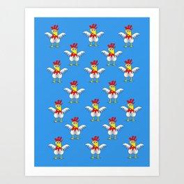 Chicken or Egg? (blue) Art Print