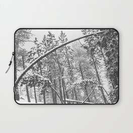 Forest Snowfall // Winter Tree Black and White Landscape Photography Backwoods Woodlands Woods Laptop Sleeve
