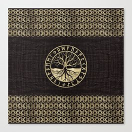 Tree of life  -Yggdrasil and  Runes on wooden texture Canvas Print