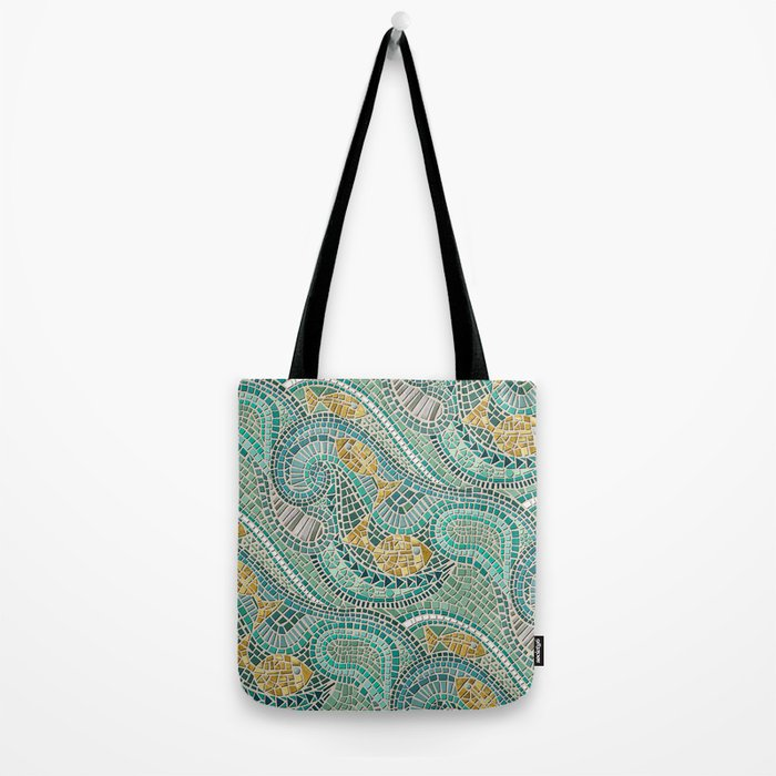 mosaic fish mint Tote Bag