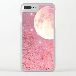 Surreal Fantasy Fairy Tale Pink Nature Trees Stars Full Moon Clear iPhone Case