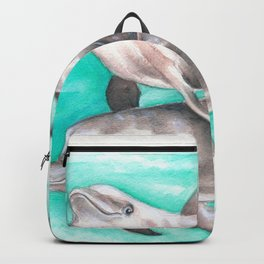 Dolphins Teal Watercolor Backpack