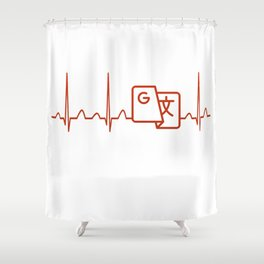 Translator Heartbeat Shower Curtain