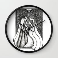 valar morghulis Wall Clocks featuring Nienna and Yavanna by Anca Chelaru