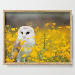 Little Owlet in Flowers (Color) Serving Tray