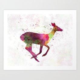 Female Deer 01 in watercolor Art Print