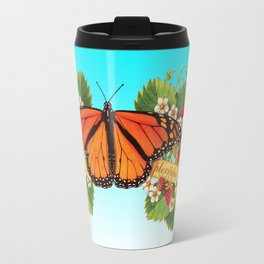 Monarch Butterfly with Strawberries on Aqua Travel Mug