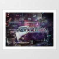 volkswagon Art Prints featuring Night time Camper by yairi