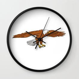 Bald Eagle Swooping Drawing Wall Clock