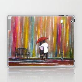 Love in the Rain romantic painting by Manjiri Kanvinde Laptop & iPad Skin