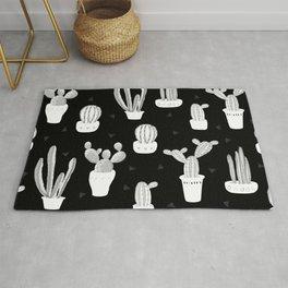 Black and White Desert Cacti Pattern Rug