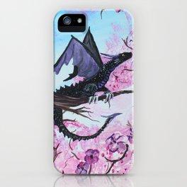 Baby Black Dragon in Cherry Tree iPhone Case