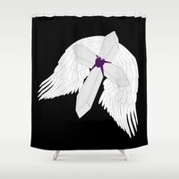 angel wings Shower Curtains featuring Angel Wings Gothic Cross by Justbyjulie