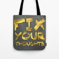 "pocketfuel Tote Bags featuring Phil 4:8 ""Fix your thoughts..."" by Pocket Fuel"