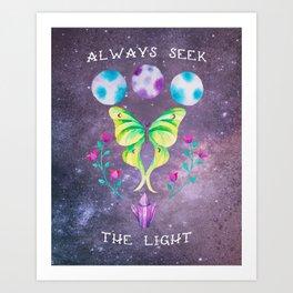 Always Seek the Light - Luna Moth Moon Crystals Boho Watercolor Art Print